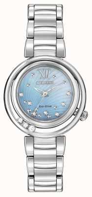 Citizen Eco-drive sunrise l Dial diamante azul para mulher EM0320-59D