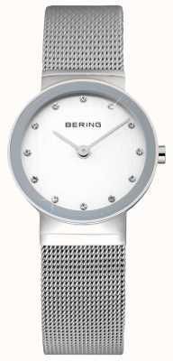 Bering Clássico das senhoras | cinta de malha de aço inoxidável | rosto branco | 10122-000