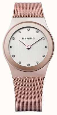 Bering Womens rosa ouro, malha de malha, relógio de cristal 12927-366