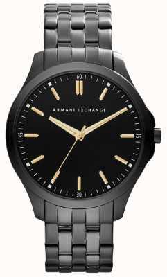 Armani Exchange Accesos de ouro preto acentuados inteligentes para homens AX2144
