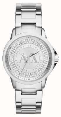 Armani Exchange Pulseira de aço inoxidável de cristal urbano feminino AX4320