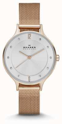 Skagen Ladies anita rosa relógio de malha de ouro SKW2151
