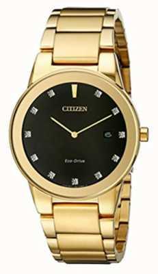 Citizen | axioma dos homens eco-drive | mostrador preto diamante | AU1062-56G
