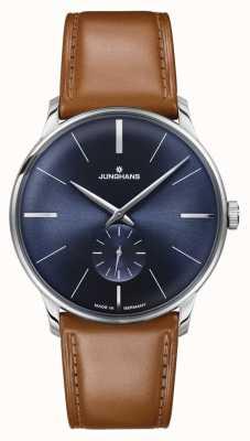 Junghans Bracelete de couro marrom meister para homem, corda manual 027/3504.00