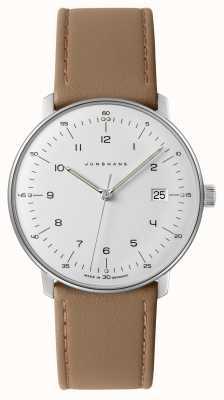 Junghans Mens max bill, relógio branco em couro bege em couro 041/4562.04
