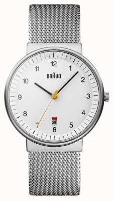 Braun Mens relógio branco prateado BN0032WHSLMHG