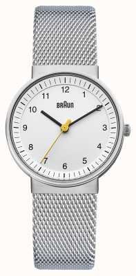 Braun Senhoras relógio branco prateado BN0031WHSLMHL