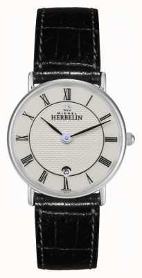 Michel Herbelin Relógio de aço inoxidável, pulseira de couro para mulher 16845/S08
