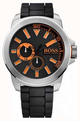 Hugo Boss Orange Aço inoxidável para homens, alça de borracha preta 1513011