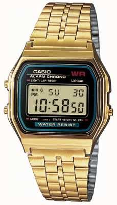 Casio Mens digital retro banhado a ouro A159WGEA-1EF