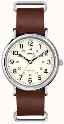 Timex Corrimão de couro marrom de weekdays original T2P495