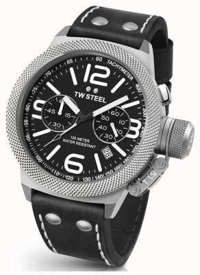 TW Steel Mens cantor 45mm crono pulseira de couro preto CS3