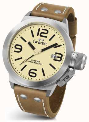 TW Steel Mens cantil 45mm pulseira de couro marrom CS11
