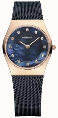 Bering Mulheres de ouro rosa, pérola azul, cristal 11927-367