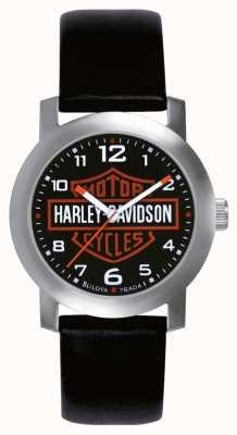 Harley Davidson Relógio de couro preto para homens 76A04
