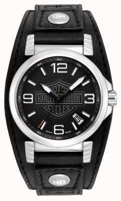 Harley Davidson Relógio de data em aço inoxidável para homem 76B163