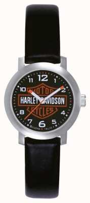 Harley Davidson Relógio feminino de couro preto 76L10