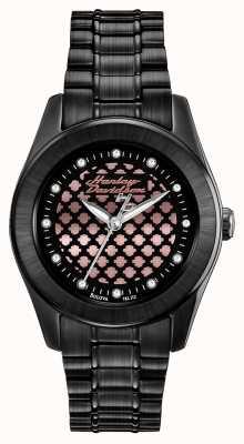 Harley Davidson Relógio de ouro para mulheres preto e rosa 78L112