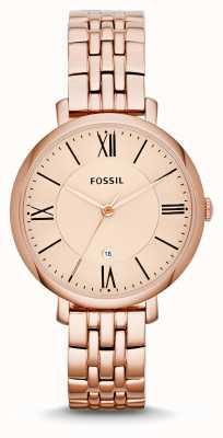 Fossil Prateleira dourada de ouro rosa jacqueline para mulher ES3435