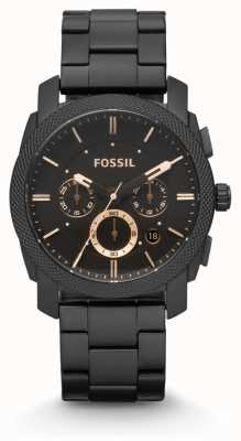 Fossil Máquina para homem preta pvd chapeada FS4682