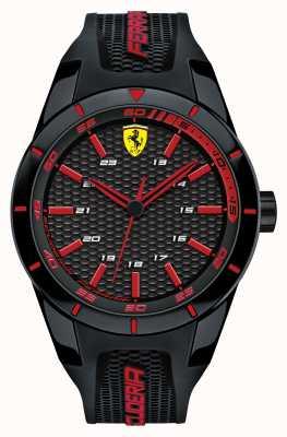 Scuderia Ferrari Red rev pulseira de silicone preta mostrador vermelho preto 0830245