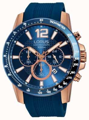 Lorus Bracelete de silicone azul para homem rosa dourado RT392EX9