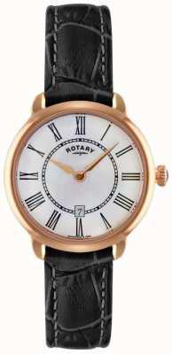 Rotary Ladies elise pulseira de couro preto assistir LS02919/41