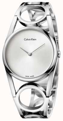 Calvin Klein Rodada de aço inoxidável em prata de prata K5U2S146