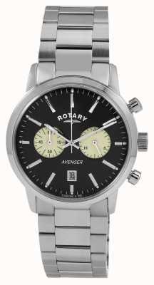 Rotary Seletor preto de aço inoxidável dos vencedores dos homens GB02730/04