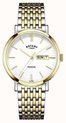 Rotary Mens dois tons banhado a ouro GB05301/01