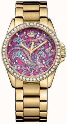 Juicy Couture Bracelete de metal dourado feminino mostrador padrão rosa 1901424