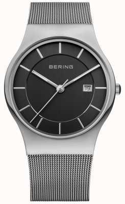 Bering Mens mostrador preto pulseira de prata data janela 11938-002