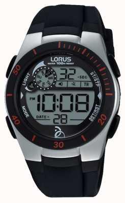 Lorus Novak fundação cinta de silicone preto digital R2375KX9
