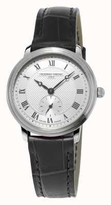 Frederique Constant Slimline pulseira de couro preto para mulheres ultra slim FC-235M1S6