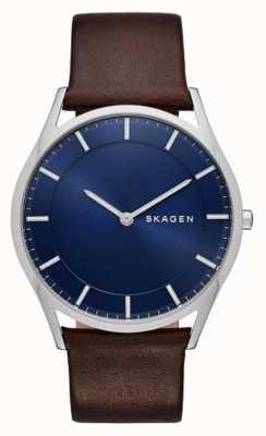 Skagen Relógio holder de couro marrom SKW6237