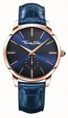 Thomas Sabo Correia de couro azul para homem mostrador azul WA0212-270-209-42