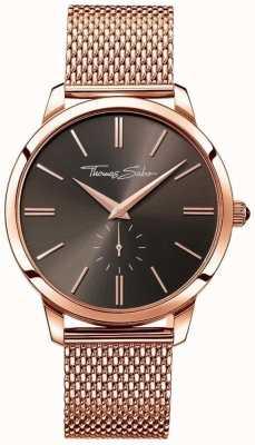 Thomas Sabo Bracelete de aço inoxidável para homens, mostrador de ouro rosa WA0177-265-206-42