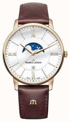 Maurice Lacroix Mens eliros moonphase pulseira de couro marrom EL1108-PVP01-112-1