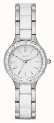 DKNY Faixa de aço cerâmico para mulher, mostrador branco NY2494