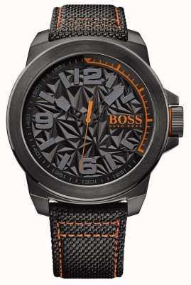Hugo Boss Orange Alça preta preta de couro mostrador padrão cinza 1513343