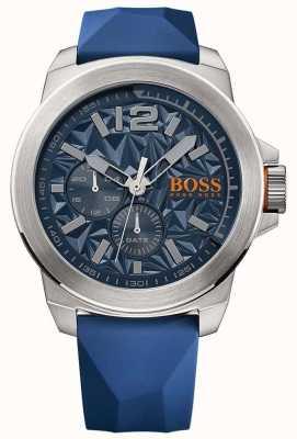 Hugo Boss Orange Calça de borracha azul para homens mostrador azul 1513348