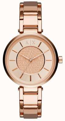 Armani Exchange Leitão de ouro rosa rosa feminino AX5317