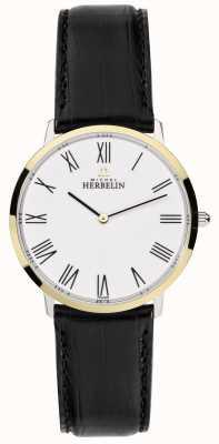 Michel Herbelin Alça de couro preto ikone de couro mostrador branco 17415/T01