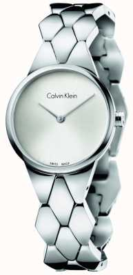Calvin Klein Bracelete de aço inoxidável de prata e prata bracelete de prata K6E23146