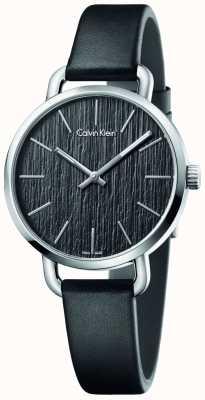 Calvin Klein Womens até mesmo faixa de couro preto mostrador preto K7B231C1