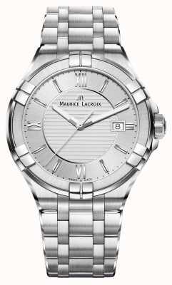 Maurice Lacroix Mens aikon pulseira de aço inoxidável mostrador de prata AI1008-SS002-130-1