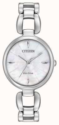 Citizen Mãe de pulseira de aço inoxidável das mulheres de discagem pérola EM0420-54D