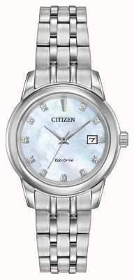 Citizen Womens 11 diamante pulseira de aço inoxidável de madrepérola EW2390-50D