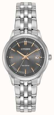 Citizen Relógio de senhora em aço inoxidável com cristal de safira EW2400-58H