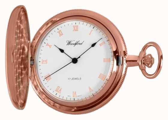 Woodford Relógio de bolso rosa dourado de caçador cheio 1091
